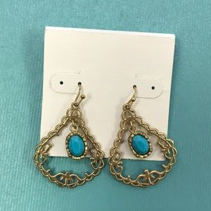 Gold & Blue Fashion Earrings